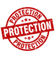protection round red grunge stamp vector image vector image