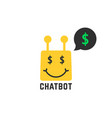 rich yellow chatbot icon vector image vector image