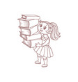 schoolgirl with books cartoon hand drawn character vector image