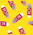 Seamless pattern with shoes on color background