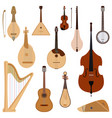 set of stringed dreamed musical instruments vector image vector image