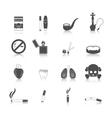 Smoking Icon Black Set vector image vector image
