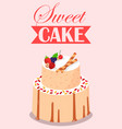 sweet cake with fruit decor candies cookies vector image vector image