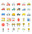 transportation set with sign on road side vector image vector image