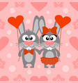 valentines day seamless card with rabbits vector image vector image