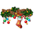 wall christmas decor with dangling baubles fir vector image vector image