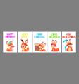 wild cute fox cards positive cartoon animal vector image
