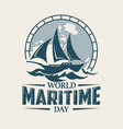 world maritime day with sailboat in old style vector image vector image