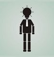 businessman or worker with glowing light bulb vector image