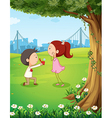 A wedding proposal near the tree vector image vector image