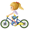 A young lady biking vector image vector image