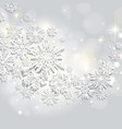 abstract swirl of paper snowflakes on a silver vector image