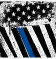 American Flag with Thin Blue Line Grunge Patriotic vector image vector image