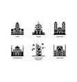 asian cities and counties landmarks icons set 6 vector image vector image