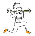 athletic woman lifting weights vector image