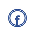 blue letter f icon vector image vector image