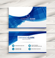 blue wave business card vector image vector image