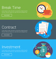 Break Time Contract Investment Flat Design vector image vector image
