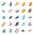 broadcast icons set isometric style vector image vector image