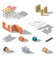 building elements isometric icon set vector image