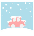 car covered with snow - winter flat icon set vector image