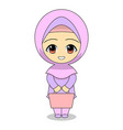 cartoon muslim women shopping daily fun vector image vector image