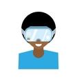 character man virtual reality glasses technology vector image