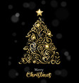 christmas card luxury gold and black pine tree vector image vector image
