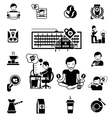 Coffee Black White Icons Set vector image vector image