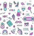 Cool teenager stuff and words seamless pattern