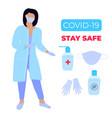 covid19-19 coronavirus epidemic female doctor vector image vector image