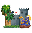 Dragon and a castle vector image vector image