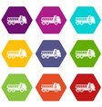 dumper truck icon set color hexahedron vector image vector image