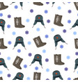 felt boot and warm hat pattern vector image vector image