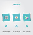 flat icons artist scheme screen and other vector image vector image