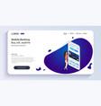 girl operates mobile bankingmobile banking vector image