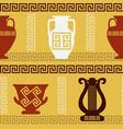 greek art - vases lyre meander seamless pattern vector image vector image