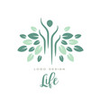 green life logo for yoga class wellness or vector image