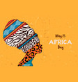 happy africa day card animal print woman vector image vector image