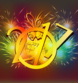 Happy New Year 2017 bell and fireworks colorful vector image vector image
