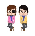 Hipster man vs korean man style vector image vector image