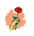 Holding Rose Flower vector image vector image