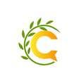 initial letter c with paper and leaf shape in vector image vector image