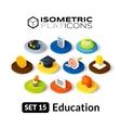 Isometric flat icons set 15 vector image vector image