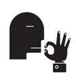 man kissing fingers black concept icon ma vector image vector image