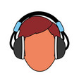 man with headphones vector image vector image