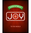 Merry Christmas Joy postcard with deer vector image