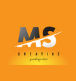 ms m s letter modern logo design with yellow vector image vector image