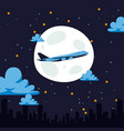 night flight airplane air transport carries vector image vector image