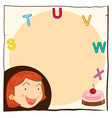 paper template with happy girl and cake vector image vector image